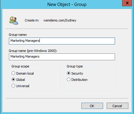 Create a new group using the NEw Object - Group dialog box