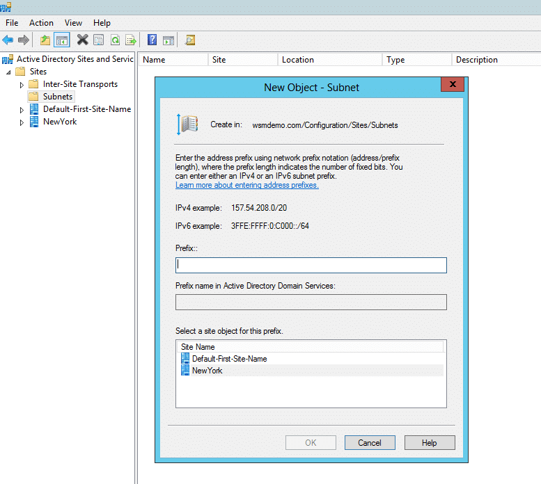Create a new subnet dialog box in Active Directory