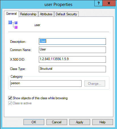 Figure showing the user class viewed with the Active Directory Schema snap-in.