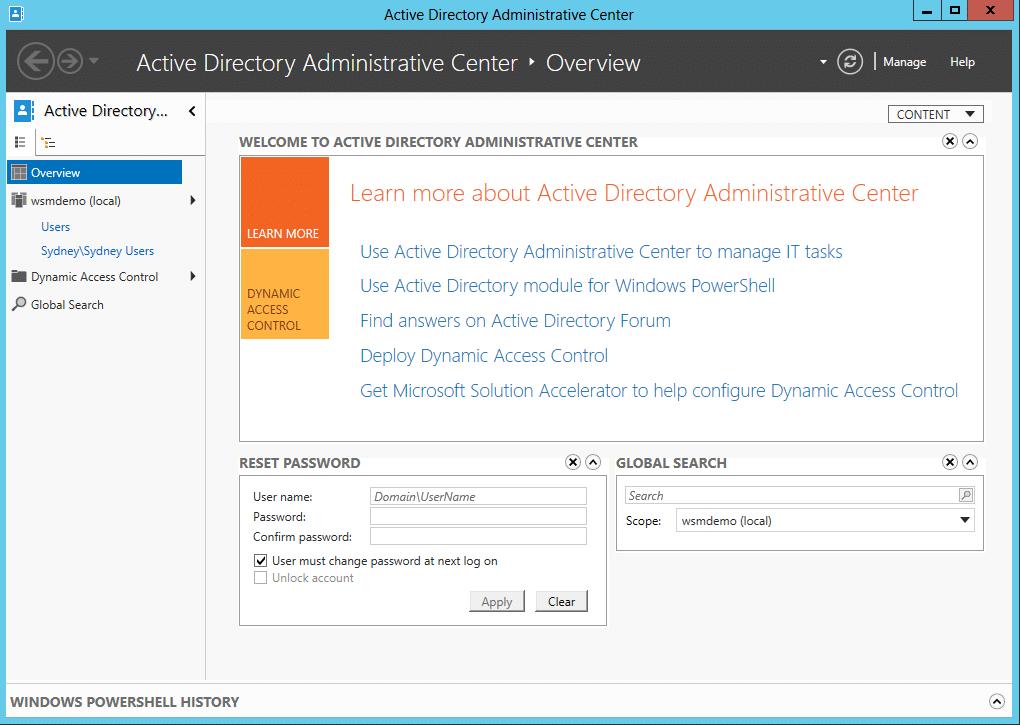 Active Directory Administrative Center dialog box