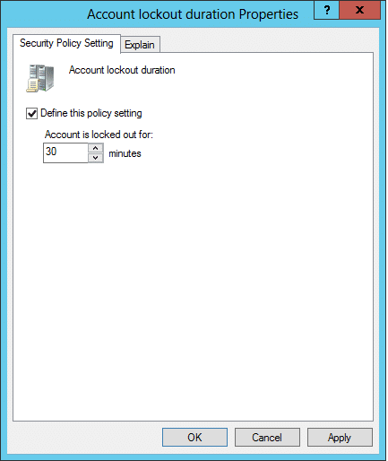 Account Lockout suration properties dialog box
