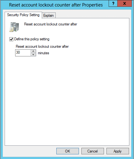 Reset Account Lock-out Counter After properties dialog box