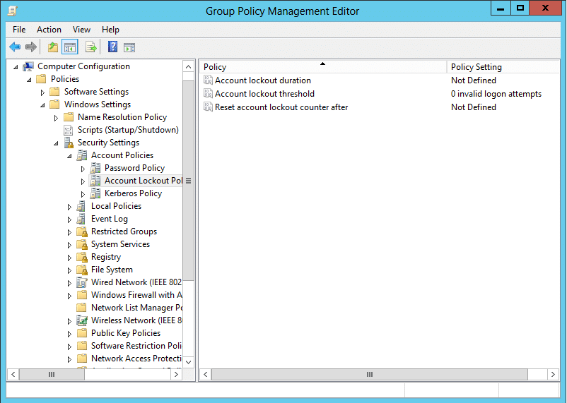 The Group Policy Management Editor displaying the three lockout settings