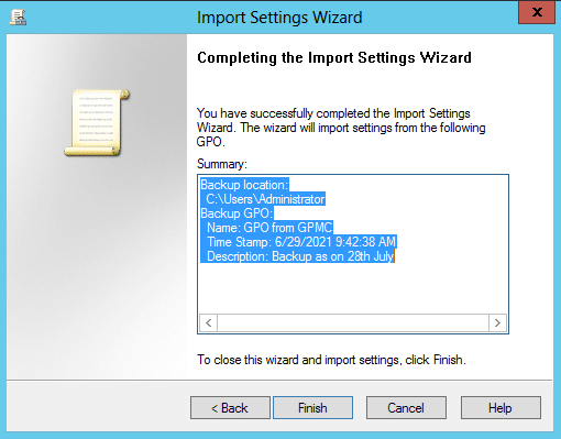 The Import Settings Wizard dialog box to import settings from an existing GPO
