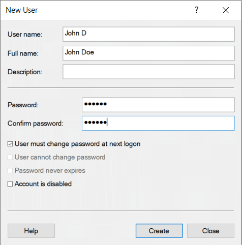 Creating a new local user in Active Directory