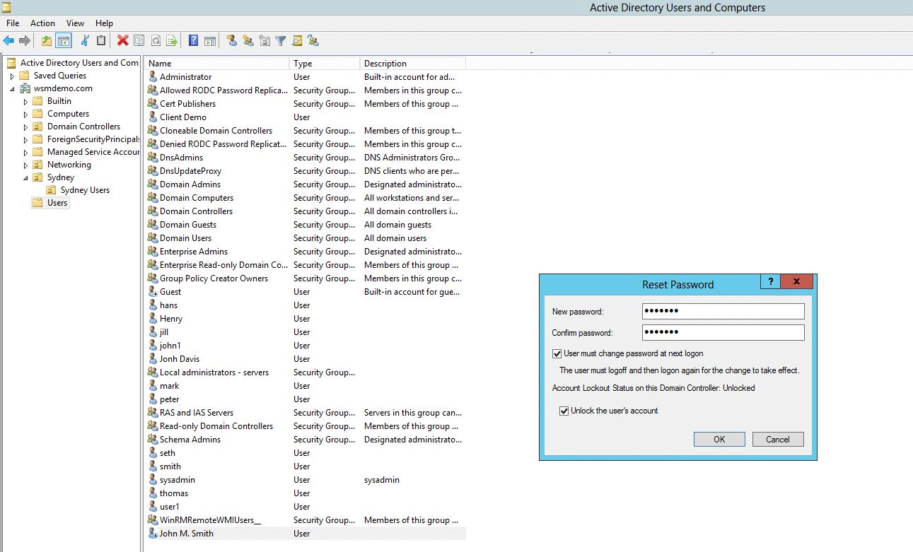 Resetting a user account password using Active Directory Users and Computers