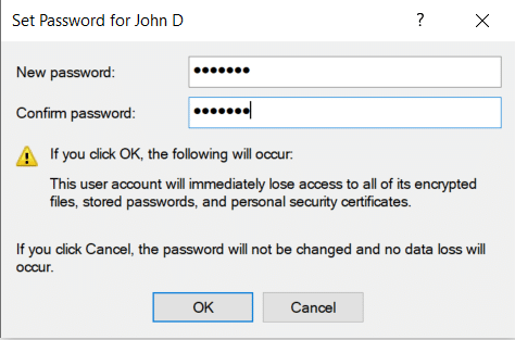 Resetting password of a local user in Active Directory
