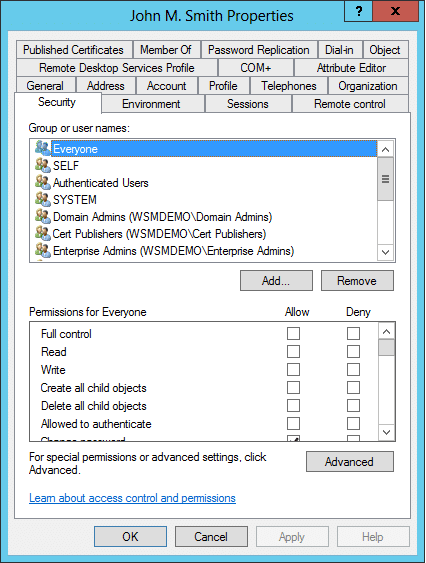 Viewing Active Directory Object Permissions from the Security tab