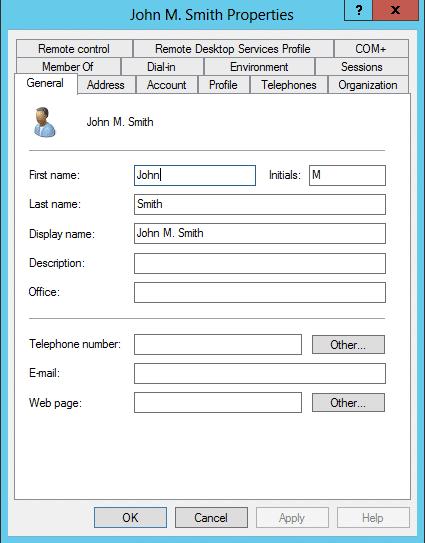 User Object Properties dialog box
