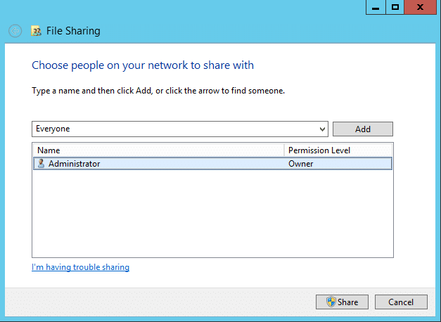 Sharing a folder with your workgroup