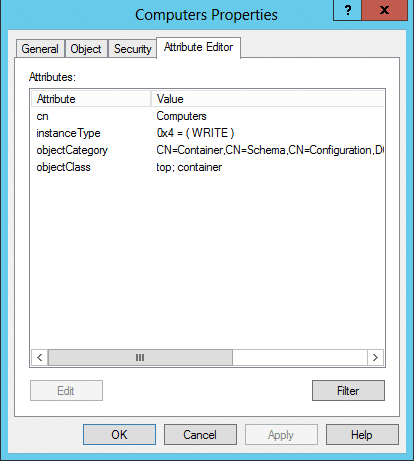 Using the Attribute Editor tab to modify Active Directory Object Attributes