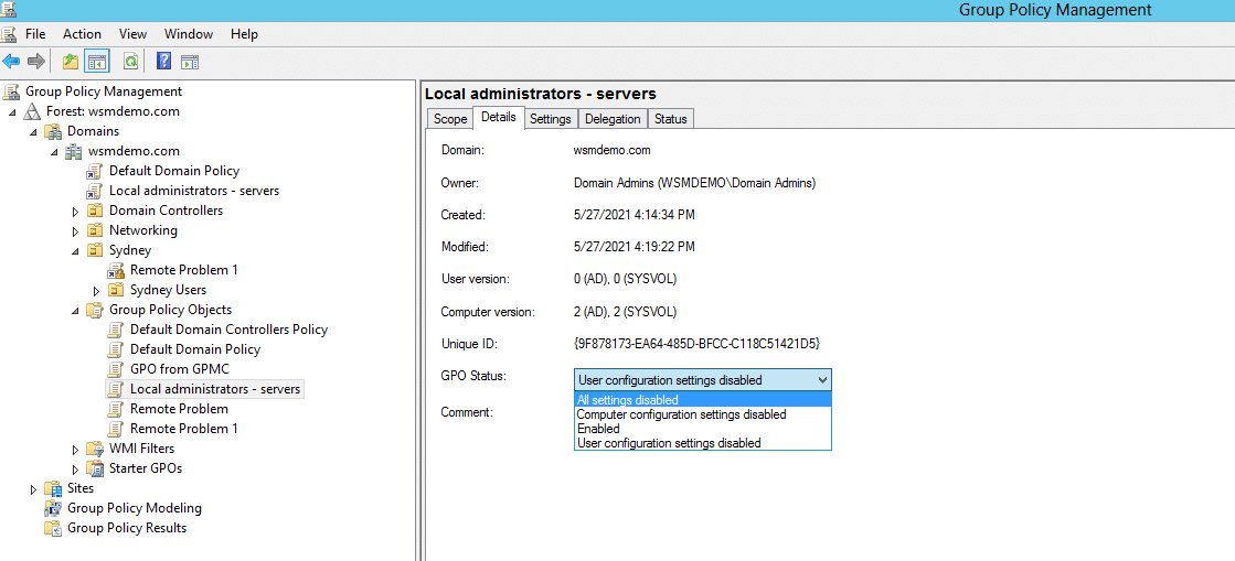 The four GPO statuses available in Active Directory