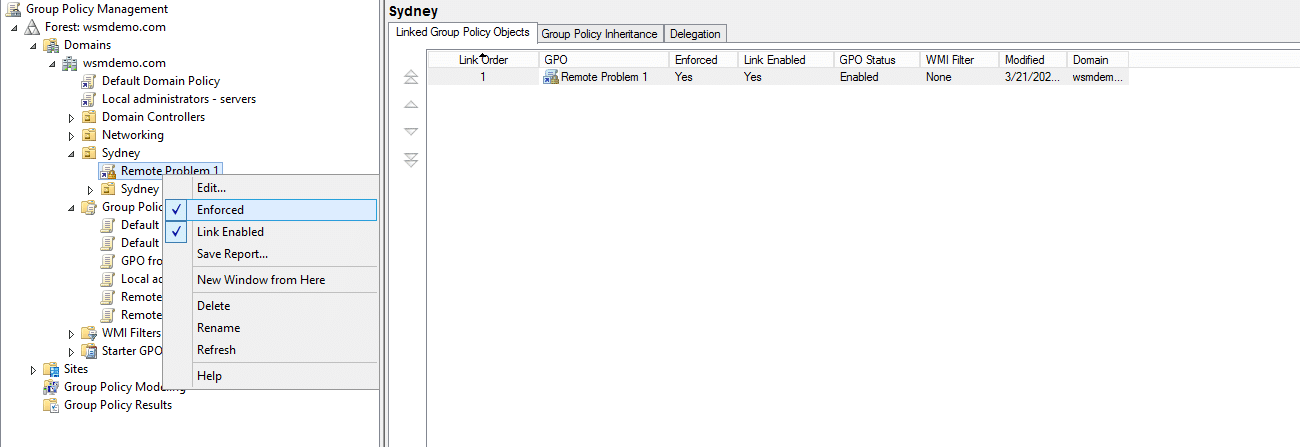 Enforcing a Group Policy Object in Active Directory