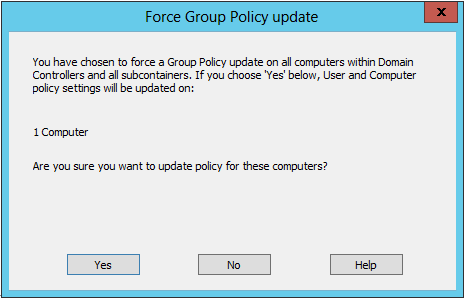 Forcing a Group Policy Object (GPO) using the group policy management wizard in Active Directory