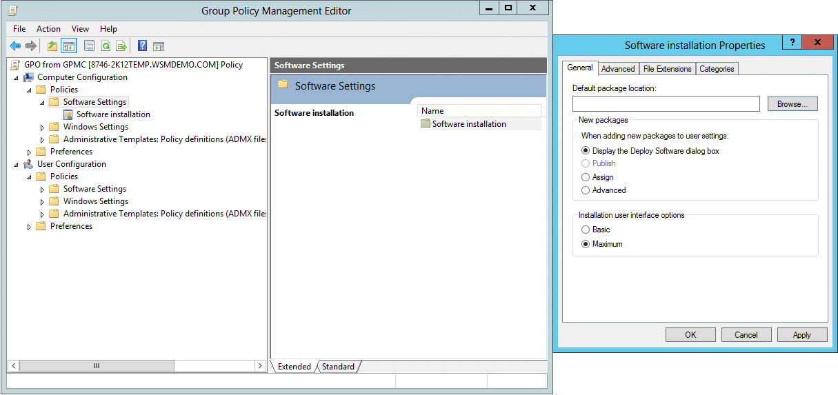 Software Settings available in Computer Configuration: Group Policy Object (GPO)