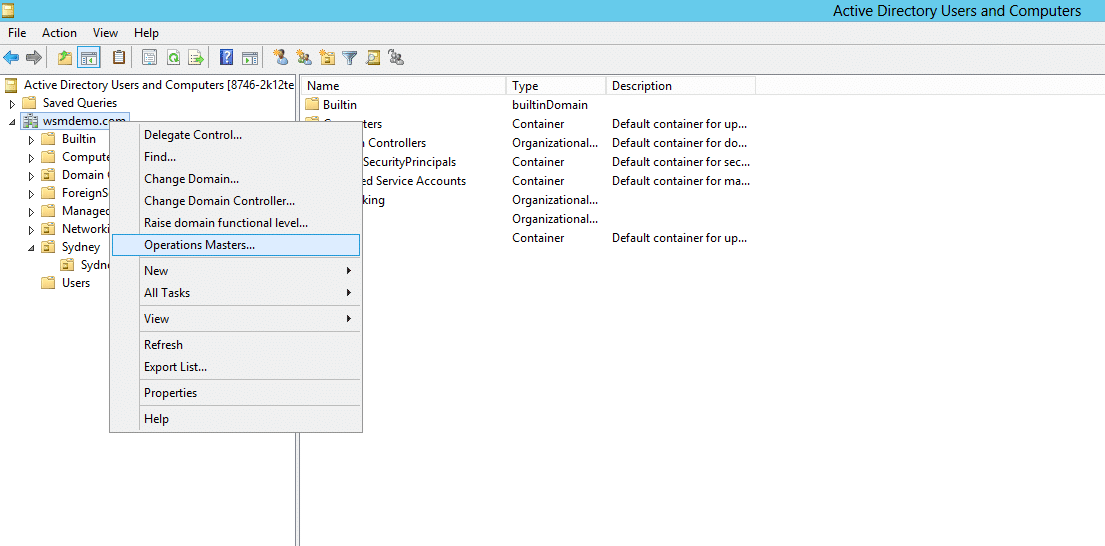 Operations Manager Dialog box from Active Directory Users and Computers for FSMO roles