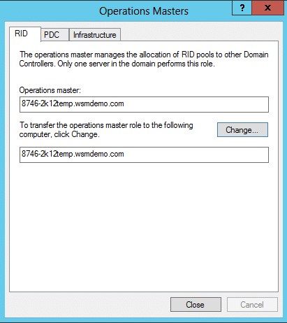 The three tabs in the Operation Masters dialog box FSMo roles