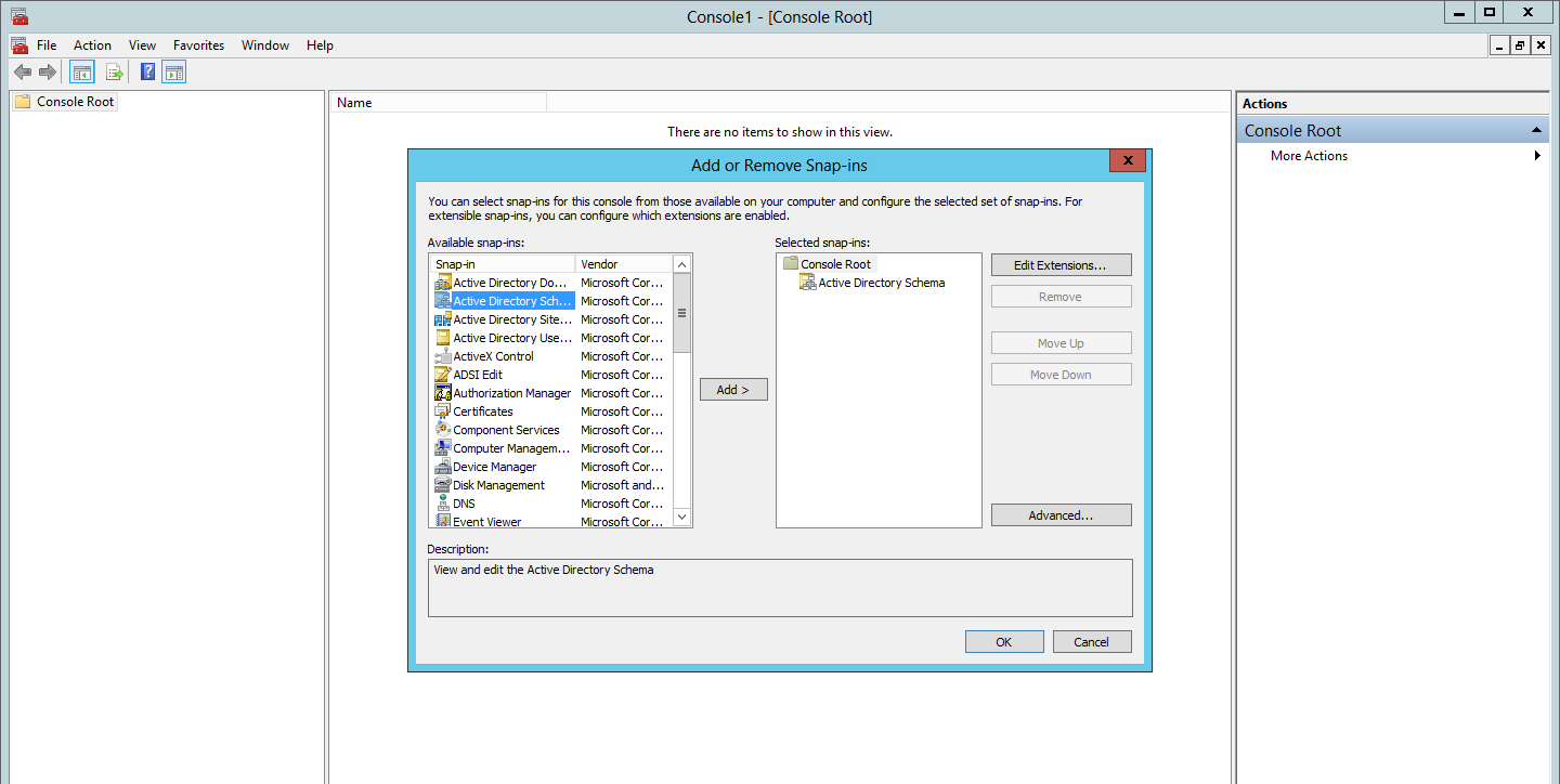 Adding the Active Directory Schema Snap-in for FSMO roles