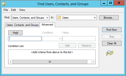 Advanced Search tab to locate Active Directory Objects